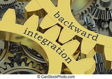 backward integration concept on the gearwheels, 3D rendering
