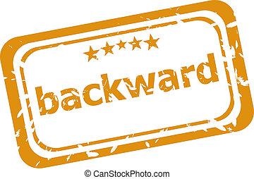 backward word on rubber grunge stamp isolated on white