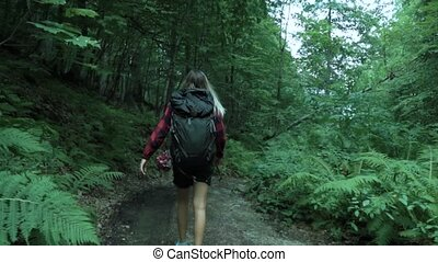Backwards of young woman with blonde sunburned hair dressed red plaid shirt, who hikes with backpack in the deep green forest