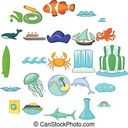 Backwash icons set, cartoon style - Backwash icons set....