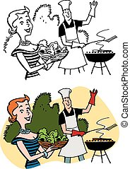 Backyard Barbecue - A couple has a Summer barbecue on the ...