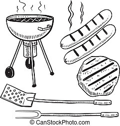 Doodle style backyard cookout or grill gear in vector format. Set includes charcoal grill, hot dog, hamburger, spatula, and fork.