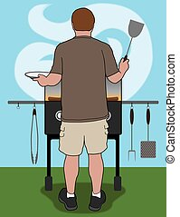 Backyard Barbecuer - Man is cooking at his barbecue