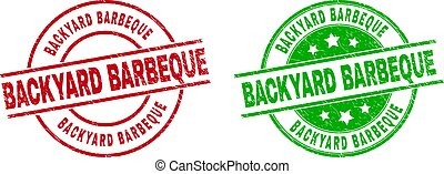 BACKYARD BARBEQUE Round Stamps Using Grunged Style