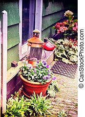 Backyard decoration with flowers