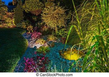 Backyard Garden After Dark