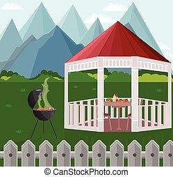 Backyard Garden house bbq Vector illustration mountains backgrounds