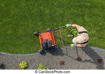 Backyard Garden Lawn Aeration Job Aerial View