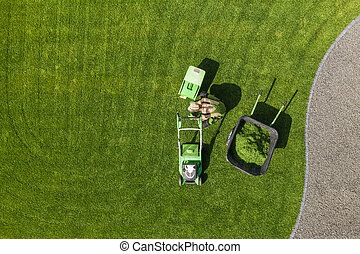 Backyard Garden Lawn Mowing and Maintenance Aerial View
