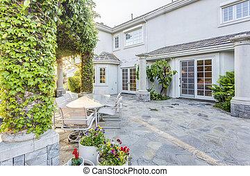 Backyard garden of luxury house