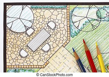 Backyard garden plan with stone patio