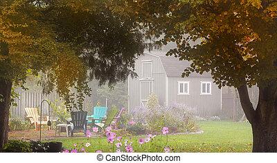 Backyard garden with tool shed
