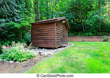 Backyard garden with wooden shed