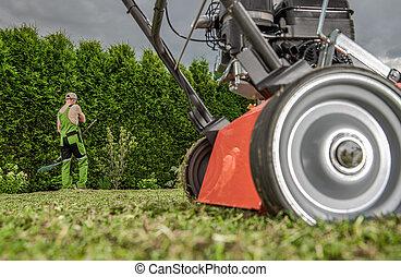 Garden Work with Lawn Aerator