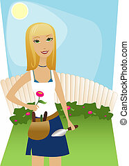 Backyard Gardening - Sunny day, blue sky, perfect for...