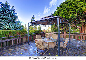 Backyard gazebo with patio set