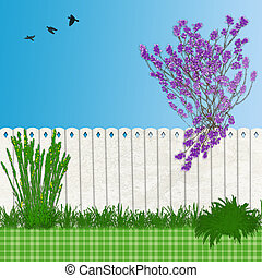 Backyard Illustration with Lilac Tree and Fence and abstract grass
