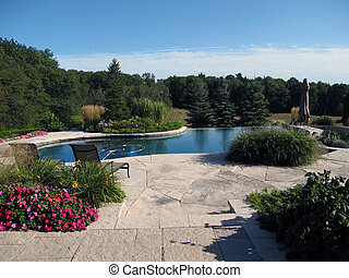 A photo of some backyard landscape