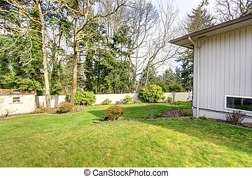 Backyard landscaping.