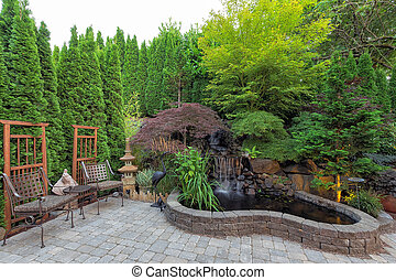 Backyard Landscaping with Waterfall Pond