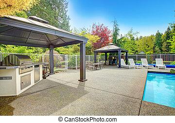 Backyard patio area - Concrete floor patio area with ...