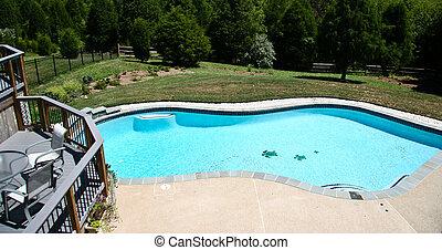 Backyard Pool 2 - Backyard Pool in summer with surrounding ...