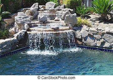 Backyard pool - Pool waterfall in backyard oasis