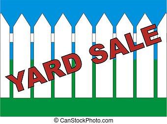 BackYard Sale - Yard sale sign in the backyard of the house