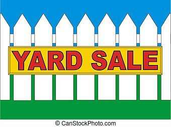 BackYard Sale Yellow - Yard sale sign in the backyard of the...