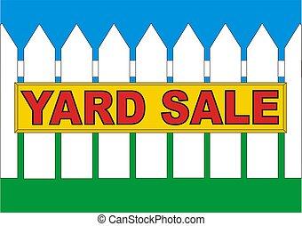 BackYard Sale Yellow - Yard sale sign in the backyard of the...
