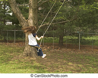 Backyard Swing - A child swings on an old fashioned tree ...