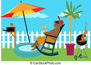 Man enjoying a staycation at the backyard under an umbrella, EPS 8 vector illustration