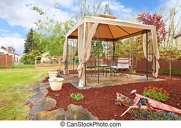 Backyard with gazebo.