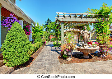 Backyard with outdoor living room. - Backyard with outdoor ...