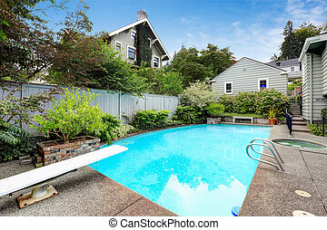 Backyard with swimming pool and jacuzzi
