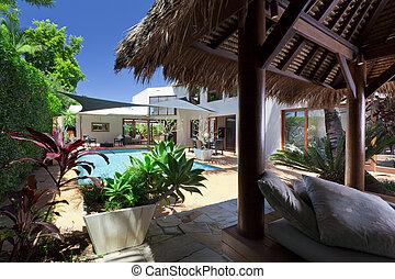 Backyard with swimming pool - Modern backyard with swimming...