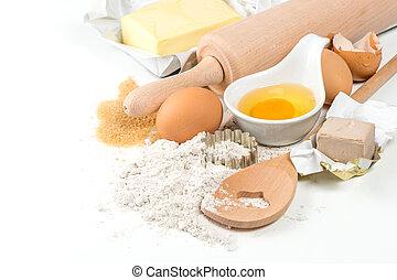 backzutaten, eier, mehl, hefe, zucker, butter
