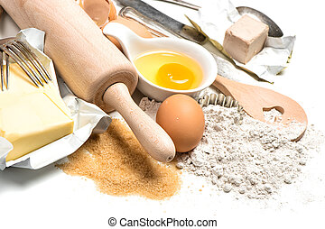 backzutaten, eier, mehl, zucker, butter, hefe
