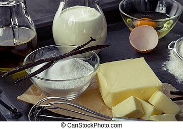 backzutaten, eier, mehl, zucker, butter, vanille, creme