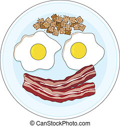 Bacon and Eggs - A bacon and eggs breakfast on a plate,...