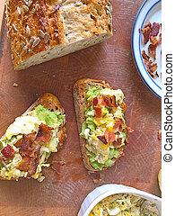 Bacon avocado toast on seeded bread