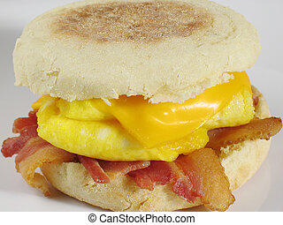 Start your morning right with this delicious sandwich… an English muffin filled with bacon, eggs, and cheese!