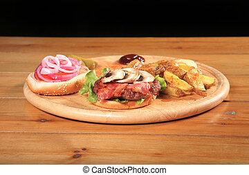 bacon burger on a plate