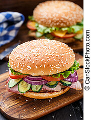 Bacon burger with vegetables and cutlet - Bacon burger with ...
