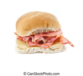 Bacon filled bread roll, bap or bun