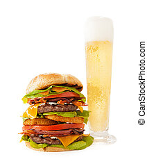 Bacon Double Cheeseburger with Tall Beer - A very tall ...