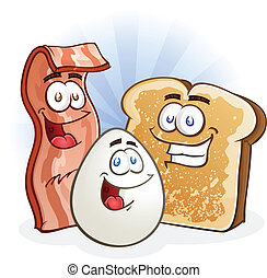 Bacon, egg and toast cartoon breakfast characters