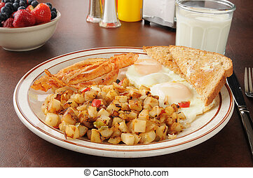 Bacon eggs and hash browns for breakfast - A bacon and egg...