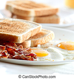 bacon, eggs and toast breakfast