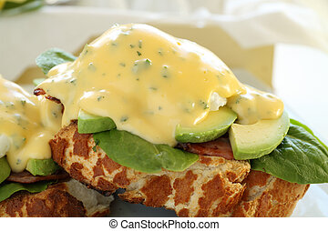 Bacon Eggs Benedict - Beautiful eggs benedict with bacon and...